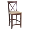 Natalie 25'' X-Back Counter Stool - Beige Fabric Seat - WI-PCH6855-S3-24