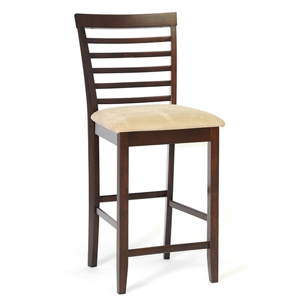 Kelsey 25'' Wood Counter Stool - Cappuccino, Beige Seat - WI-PCH6874-S3-24