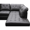 Mario Leather Sectional Sofa with Ottoman - Tufted, Chocolate
