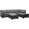 Mario Leather Sectional Sofa with Ottoman - Tufted, Chocolate - WI-R7470-3PC-CHOCOLATE