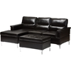 Kinsley 3-Piece Small Sectional Sofa with Ottoman - Faux Leather, Black