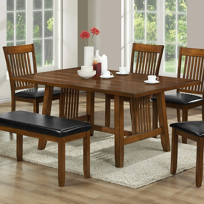 Rachel 6-Piece Dining Table Set - Walnut Brown, Slat Back Chairs - WI-RACHEL-6-PC-DINING-SET