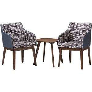 Reece 3-Piece Lounge Chair and Side Table Set - Walnut Base, Dark Blue