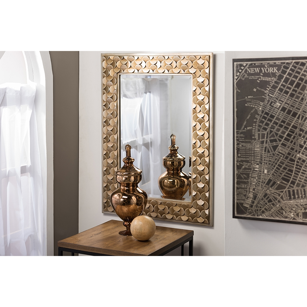 Benner rectangle accent wall mirror gold dcg stores for Accent wall mirrors
