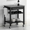 Quebec Black Wheeled Modern Kitchen Cart - WI-RT159-OCC