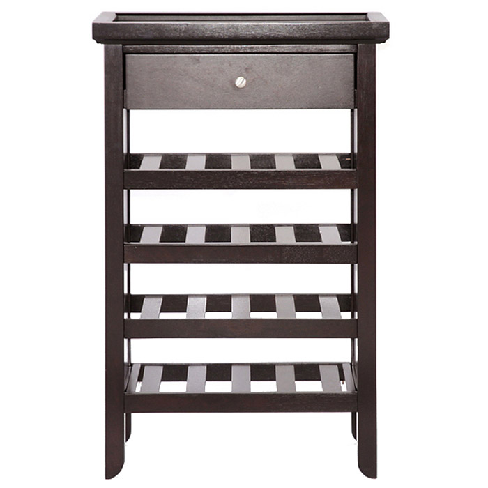 Atlanta 4-Shelf Wine Rack - Drawer, Removable Tray, Dark Brown