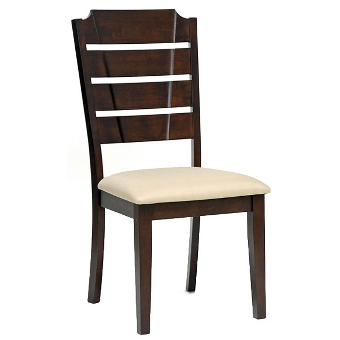 Victoria slatted dining chair cappuccino frame beige