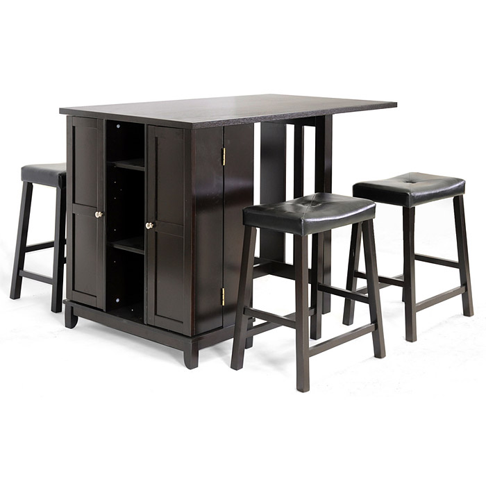 Aurora Pub Table Set - Cabinet Base Backless Stools Dark Brown - WI- ...  sc 1 st  DCG Stores : dark wood pub table sets - Pezcame.Com