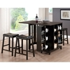 Aurora Pub Table Set - Cabinet Base, Backless Stools, Dark Brown - WI-RT204-PUB-SET