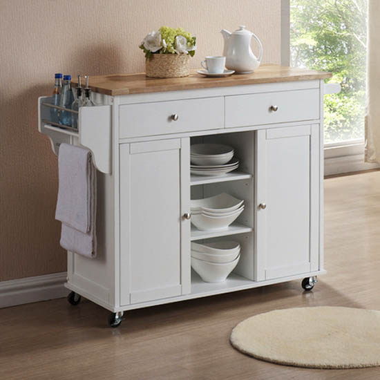 Meryland White Modern Kitchen Island Cart - WI-RT210-OCC