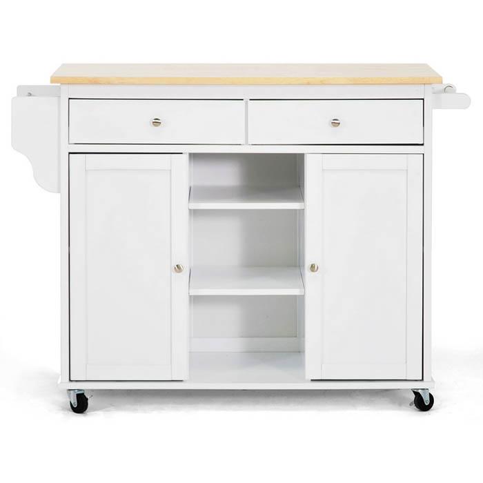 Meryland White Modern Kitchen Island Cart Dcg Stores