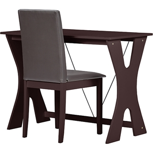 Cary 2-Piece Writing Desk and Chair - Dark Brown, Wenge
