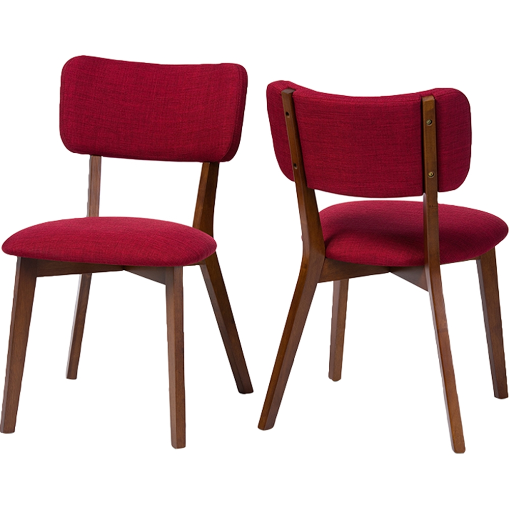 Monaco upholstered dining side chair dark walnut red for Red upholstered dining chair