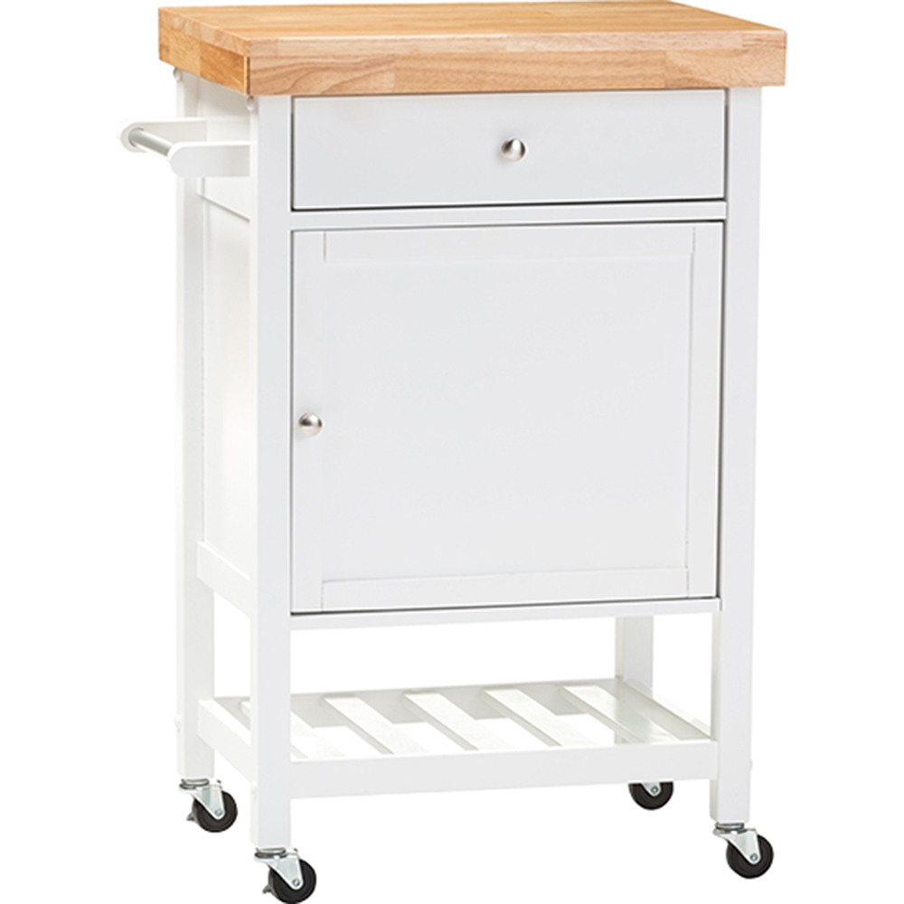 Fermont Rolling Kitchen Cart White Brown Dcg Stores