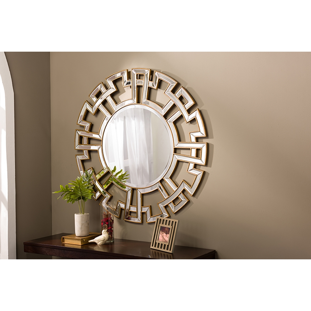 Ulmer round accent wall mirror gold dcg stores for Accent wall mirrors