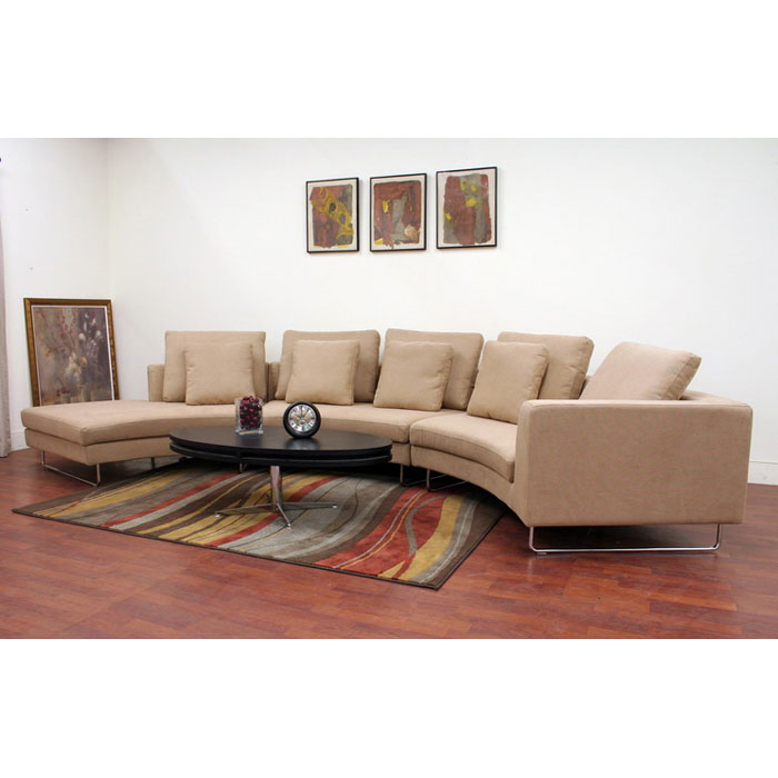 Lilia Curved Tan Fabric Sectional - WI-S-296-E5064-2