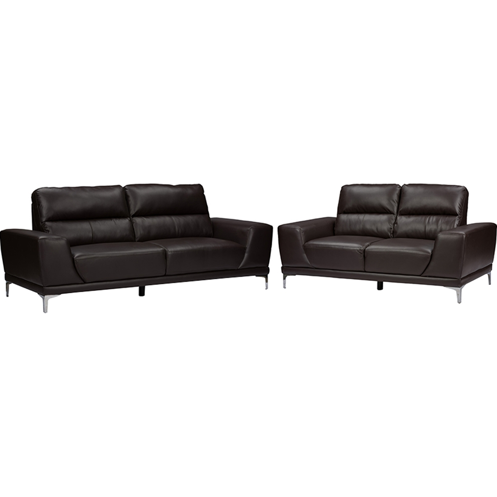 Lambton Faux Leather Loveseat Dark Brown Dcg Stores
