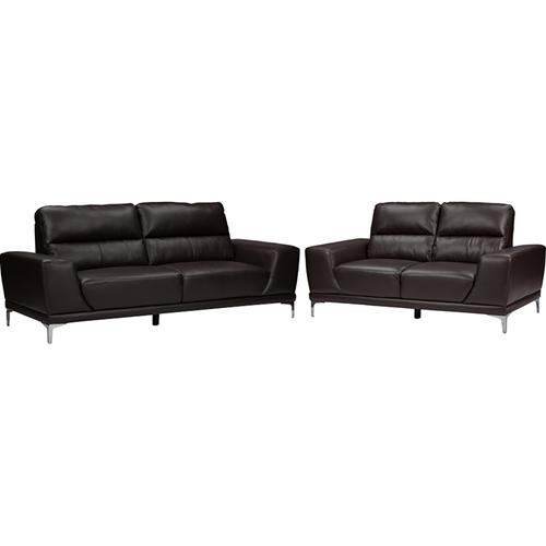Lambton 2 Piece Faux Leather Sofa Set Dark Brown Wi S98740
