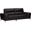 Lambton Faux Leather Sofa - Dark Brown