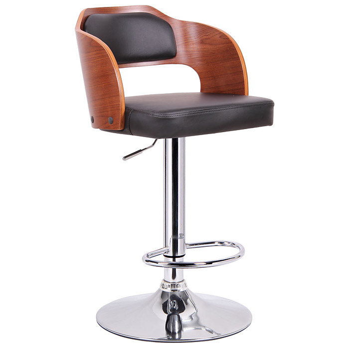 Sitka Adjustable Swivel Bar Stool Molded Plywood Black