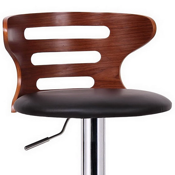 Buell Swivel Bar Stool - Molded Plywood, Black Seat, Cut-Outs - WI-SD-2019-WALNUT-BLACK-PSTL