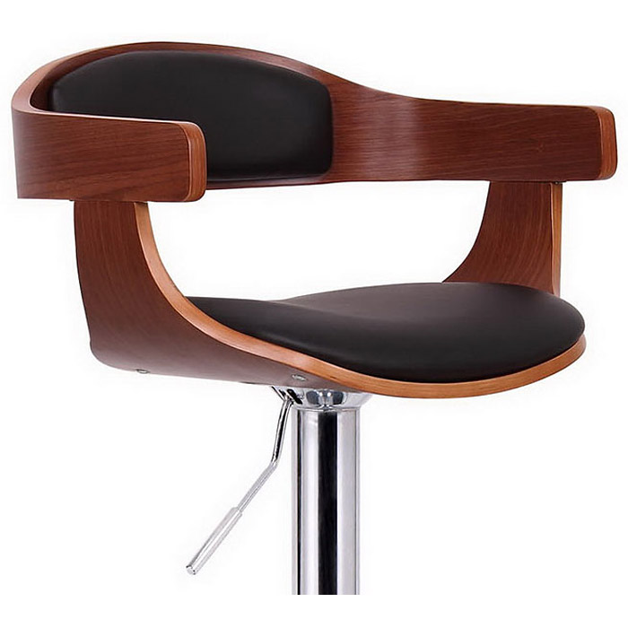 Garr Swivel Bar Stool - Walnut Veneer, Black Seat, Chrome Base - WI-SD-2178-WALNUT-BLACK-PSTL