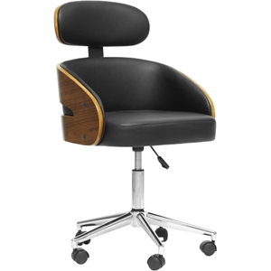 Kneppe Swivel Office Chair - Walnut, Black