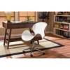 Bruce Swivel Office Chair - White, Walnut - WI-SDM-2240-5-WALNUT-WHITE
