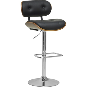 Leona Swivel Bar Stool - Walnut, Black