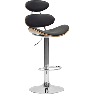 Modana Swivel Bar Stool - Walnut and Black