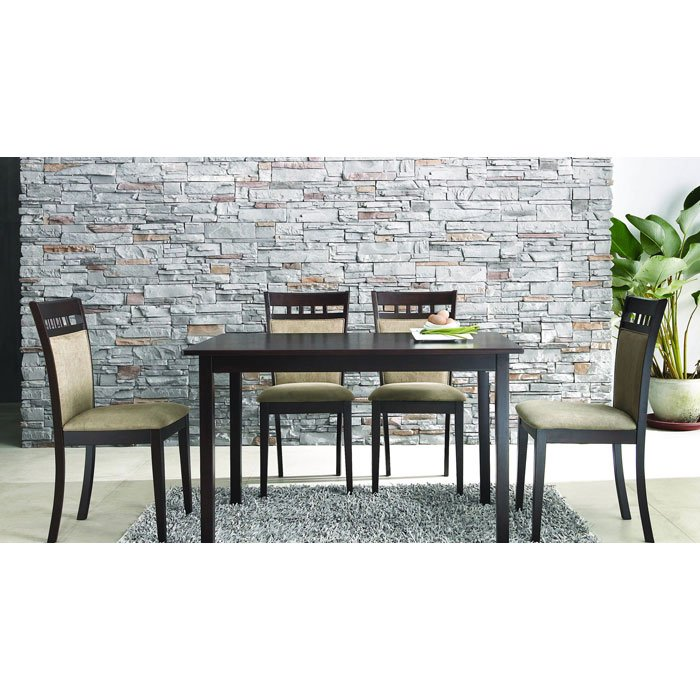 Stockton 5 Piece Dining Set In Dark Brown And Taupe DCG Stores
