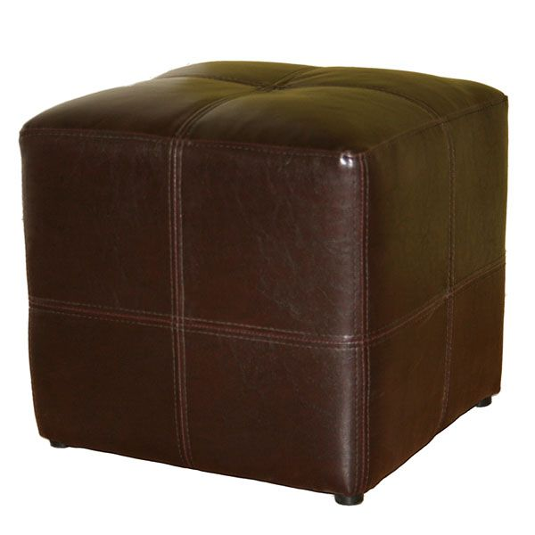 Noche Dark Brown Bonded Leather Cube Ottoman