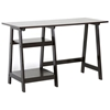 Mott Sawhorse Wooden Desk - Espresso Finish, 2 Shelves - WI-RT218-TBL