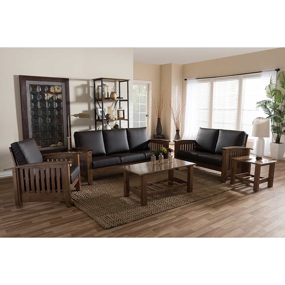 Charlotte 5 piece faux leather living room set dark for Living room 5 piece sets