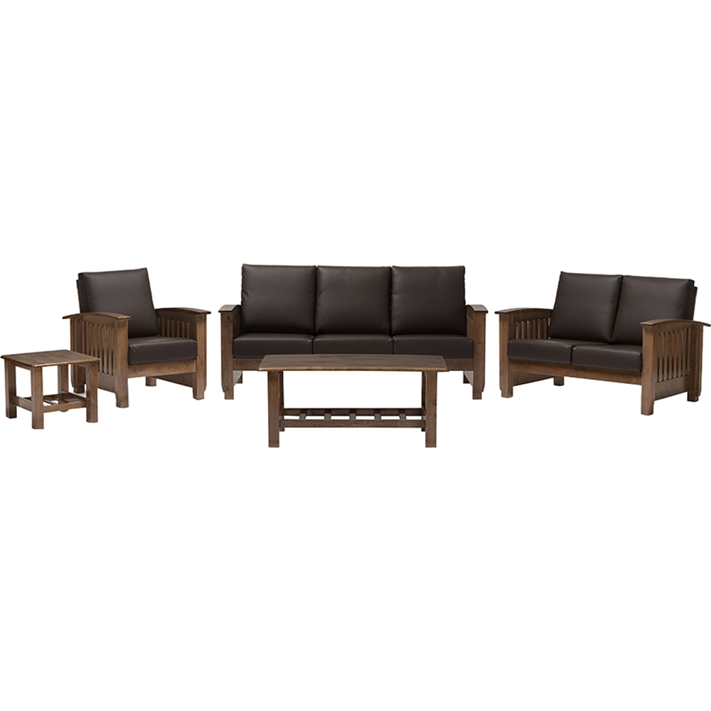 Charlotte 5 piece faux leather living room set dark for 5 piece living room furniture sets