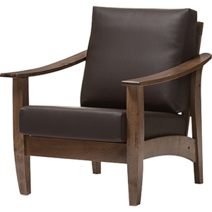 Pierce Faux Leather Lounge Chair - Dark Brown, Walnut Brown