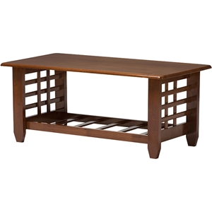 Larissa Rectangular Coffee Table - 1 Shelf, Cherry Brown