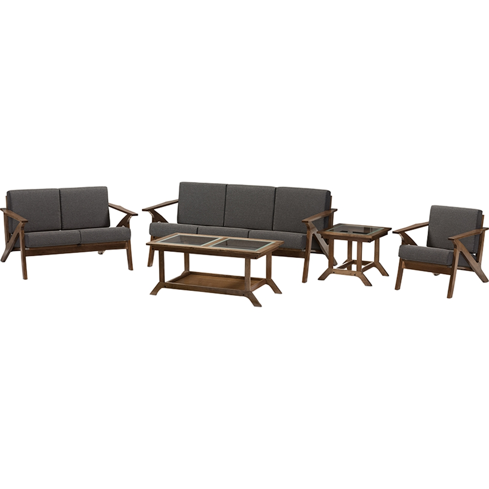 Cayla 5 piece living room set gray walnut brown dcg for Living room 5 piece sets