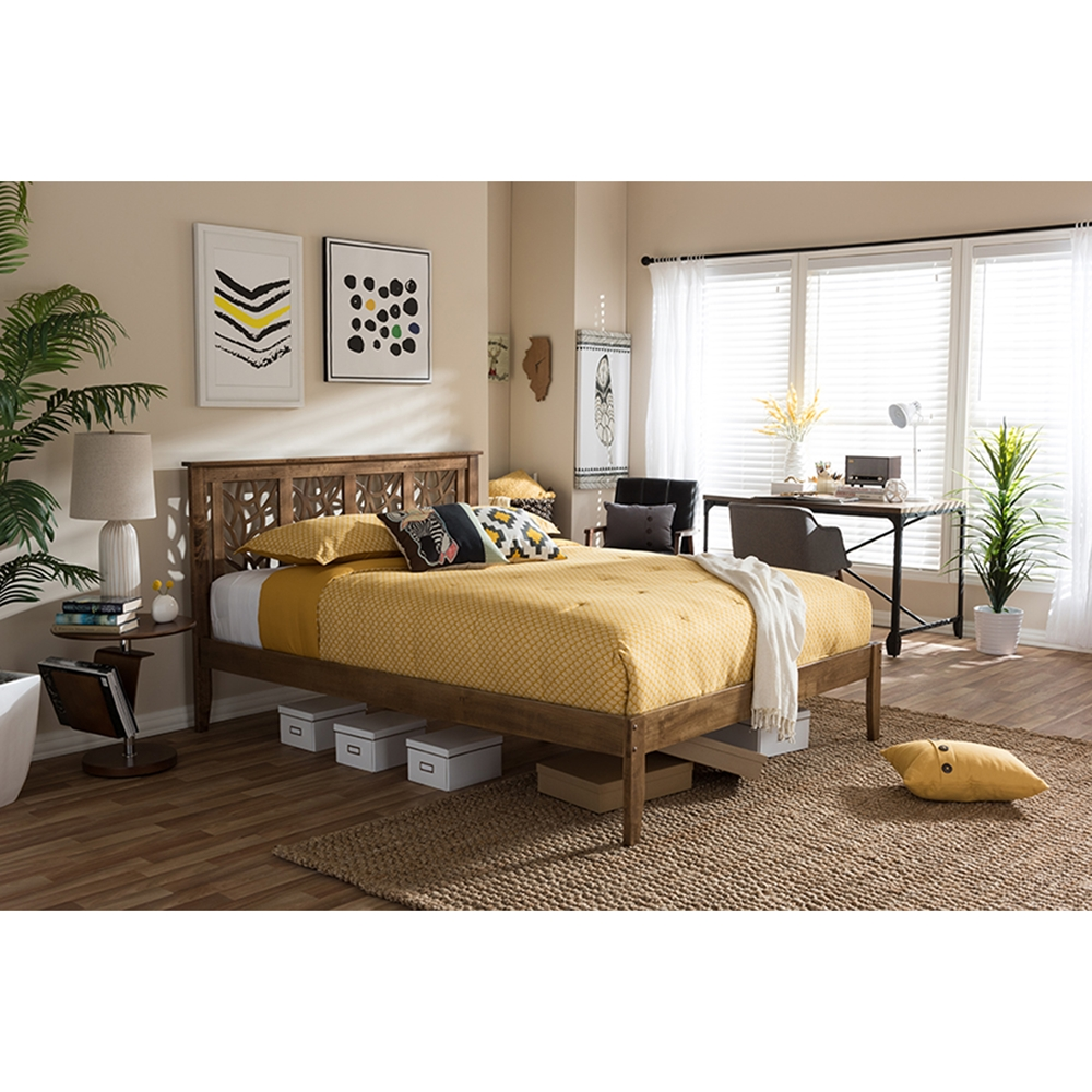 Roma Walnut Contemporary Bed: Trina Tree Branch Wood Platform Bed - Walnut Brown