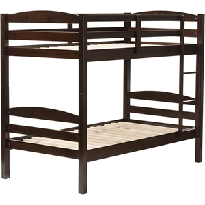 Crimson Twin Over Twin Bunk Bed - Dark Brown