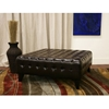 Pemberly Square Leather Ottoman in Dark Brown - WI-TA1235-DRK-BR