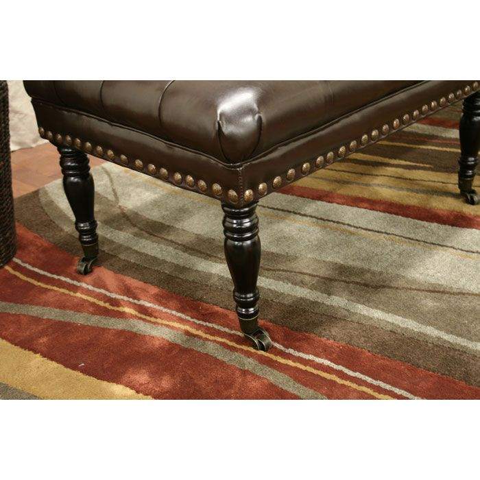 Lexington Dark Brown Leather Wheeled Bench - WI-TA1497-DRK-BR