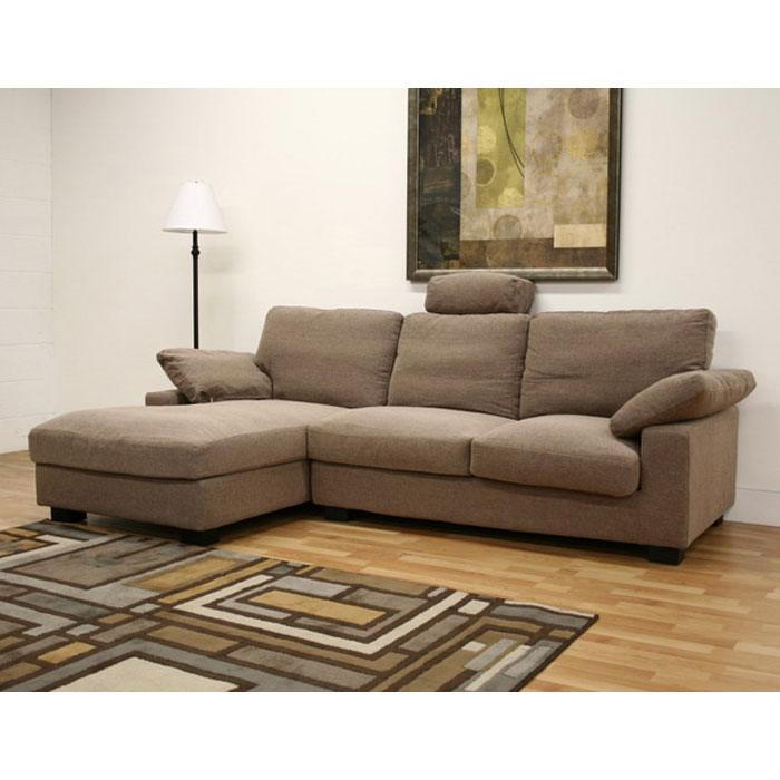 Priscilla Tan Twill Fabric Modern Sectional with Chaise - WI-TD0306A-RUGI-50