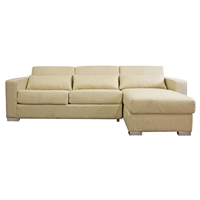 Olcott Cream Twill Sleeper Sofa with Storage Chaise