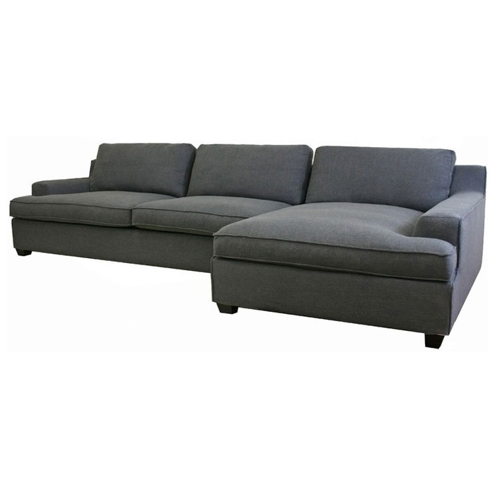 Kaspar slate grey fabric sectional with chaise dcg stores for Slate grey sectional sofa