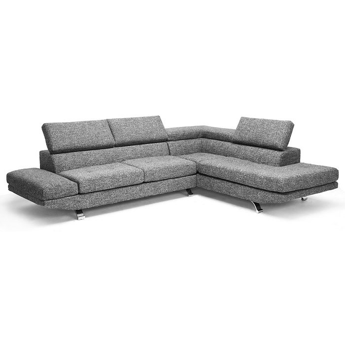 Adelaide Chaise Sectional Sofa Adjule Headrests Gray Twill Wi Td1909