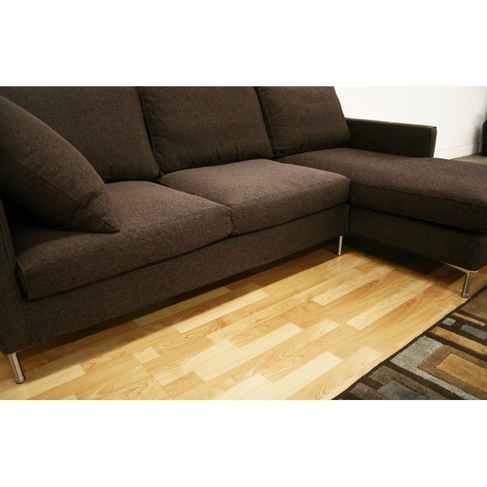 Palmyra Brown Twill Fabric Modern Sectional with Chaise - WI-TD9803-RUGI-47