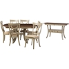Balmoral 8-Piece Extendable Dining Set - Light Gray, Antique Oak - WI-TEAV-13228-ALR-13312-SAV-13200-8PC-SET