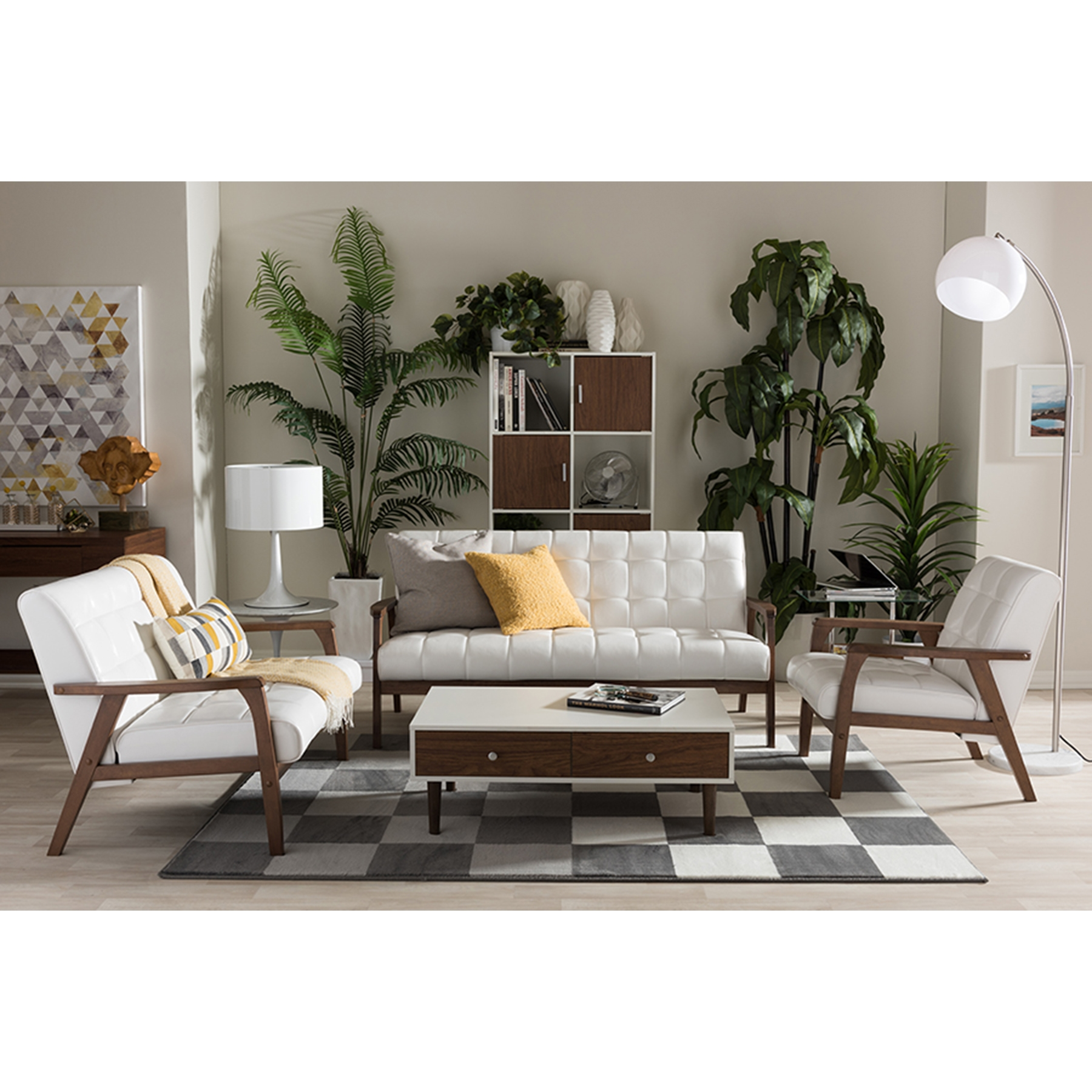 ... Masterpieces 3 Piece Sofa Set   White   WI TOGO 3PC SOFA