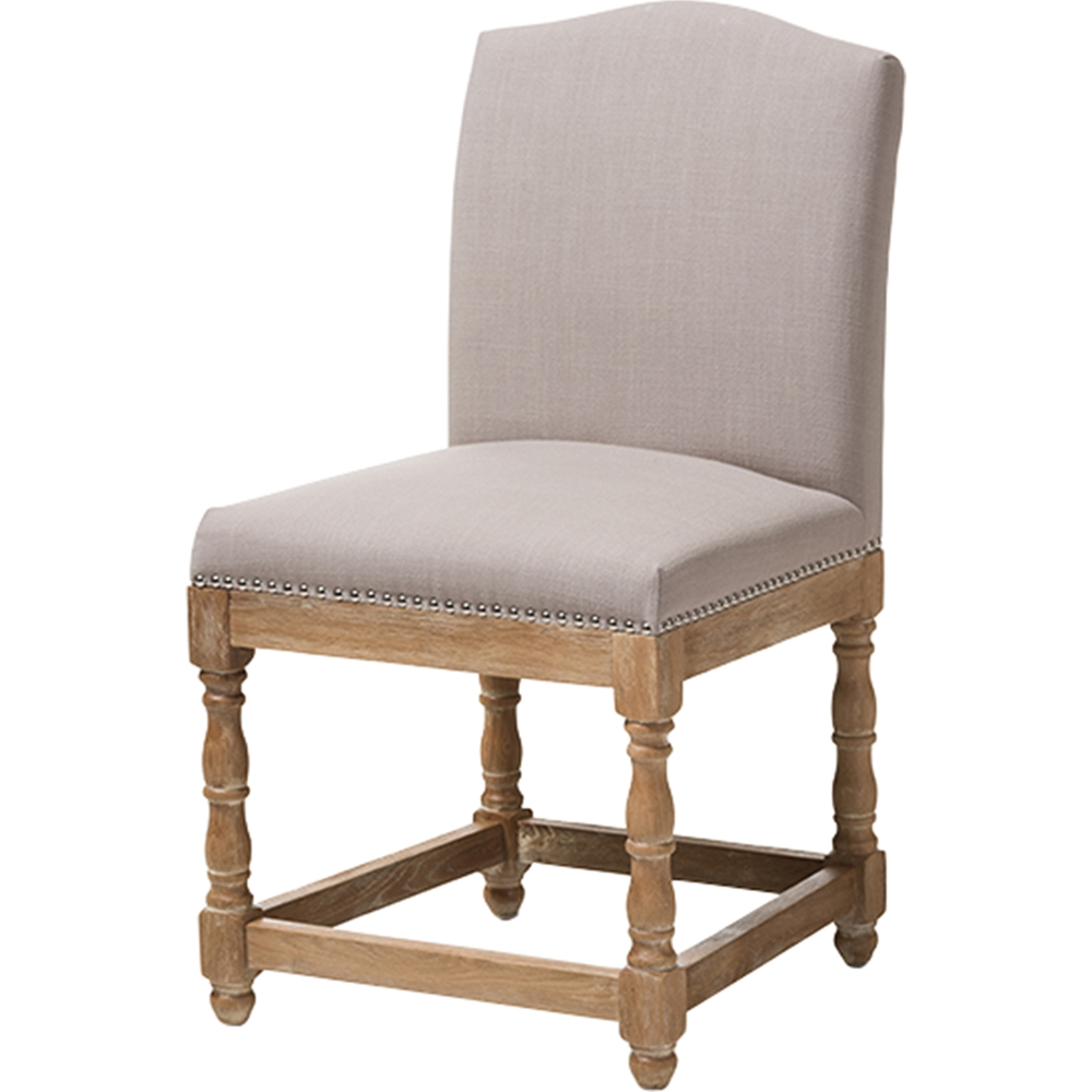 Paige Upholstered Dining Side Chair Nailhead Beige